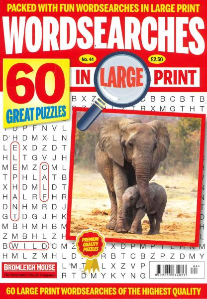 Wordsearches in Large Print magazine
